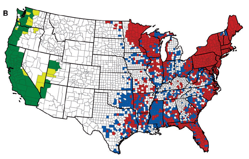 Blacklegged Tick Distribution 19072015 Eisen Et Al 2016 Insects - Cockroach Us Map